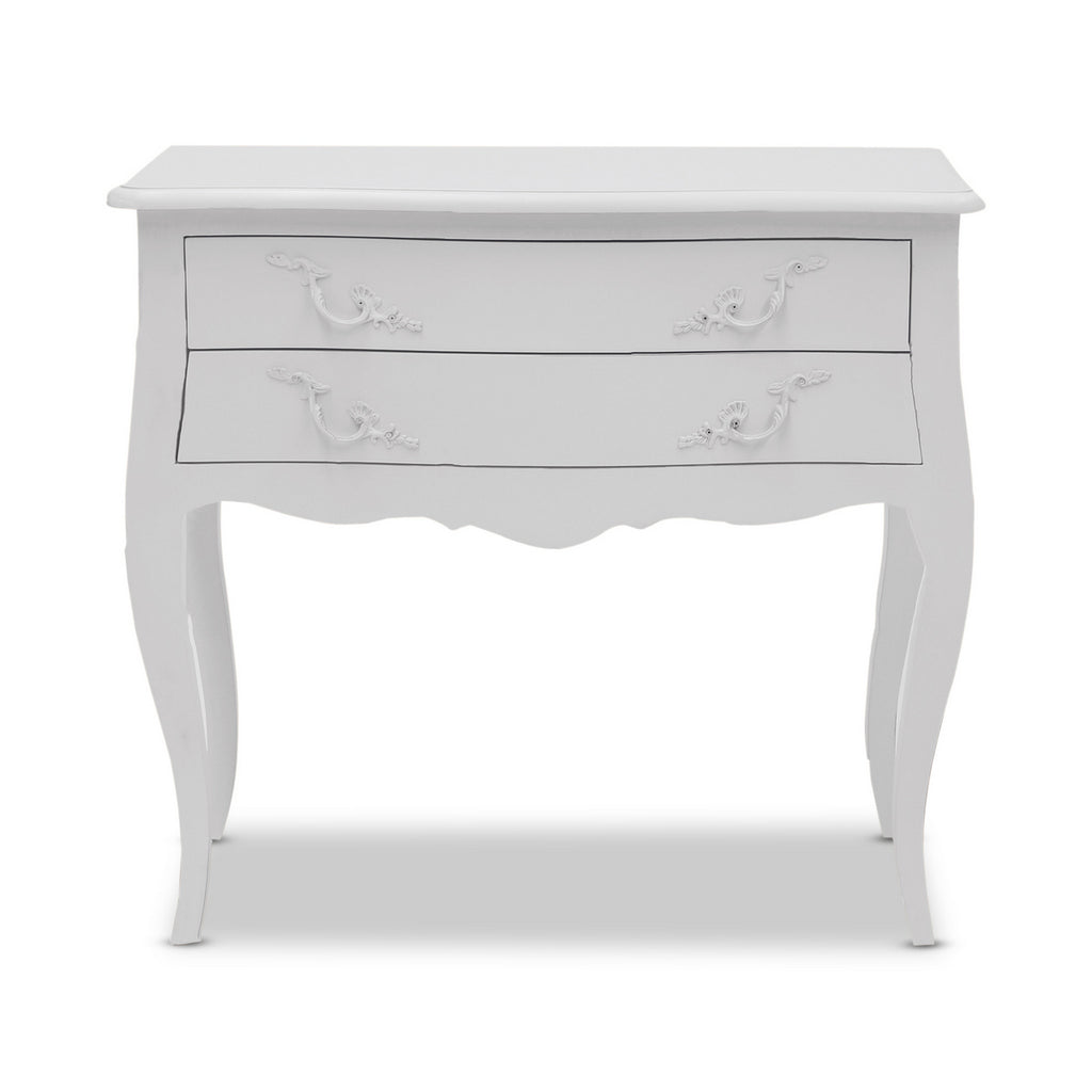 Picture of: Louis Wide Double Drawer Bedside Hudson Furniture