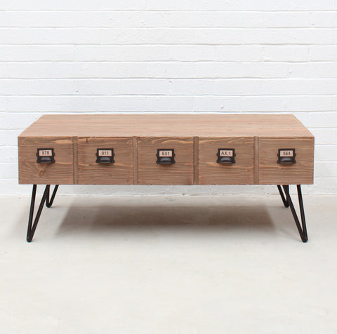 Industrial Coffee Table - with pigeon hole drawers - wholesale
