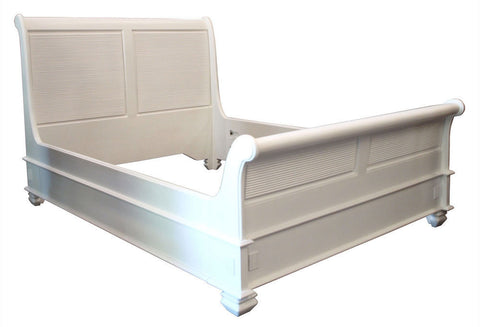 Queen Size - White Cezanne Sleigh Bed, Ensemble Base (1 available only)