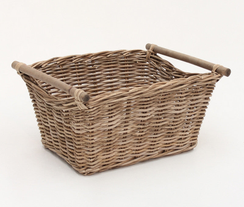 Rectangle Storage Basket with Timber Pole Handles