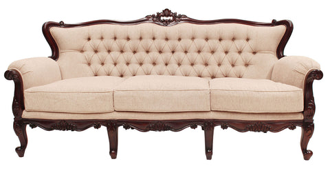 Large Three Seater Carved Couch