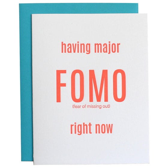 FOMO Fear of Missing Out Letterpress Card