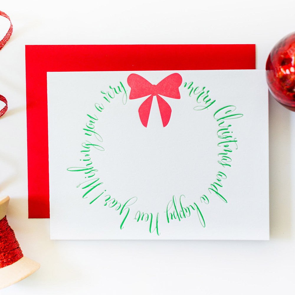 Merry Christmas Wreath Letterpress Card - DISCOUNT PRICE!!
