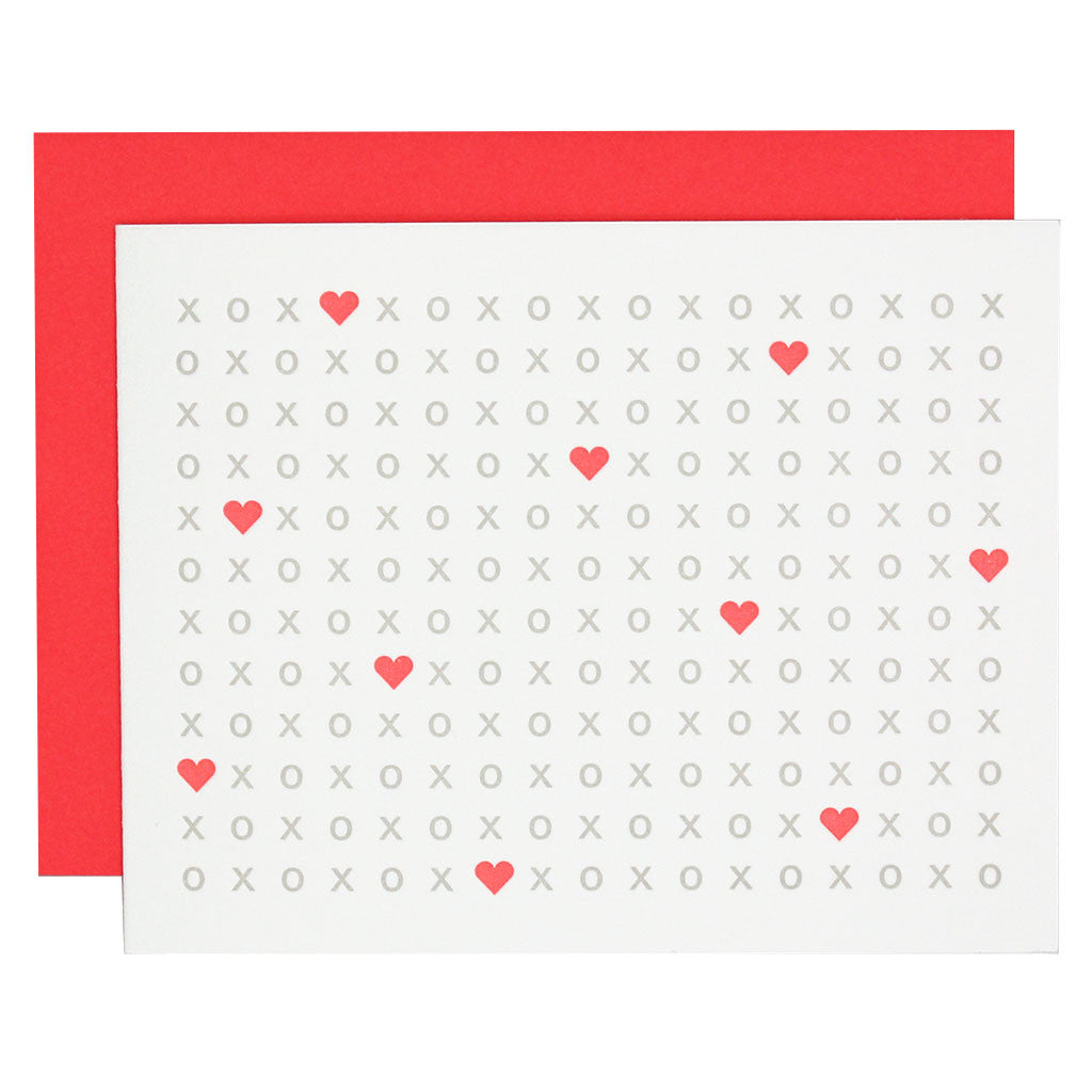 XOXO Heart Letterpress Card