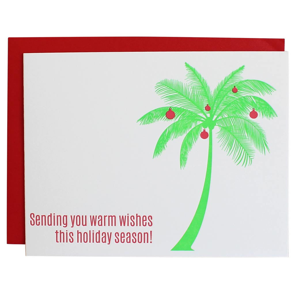 Sending Warm Wishes Palm Tree Letterpress Card Discount Price