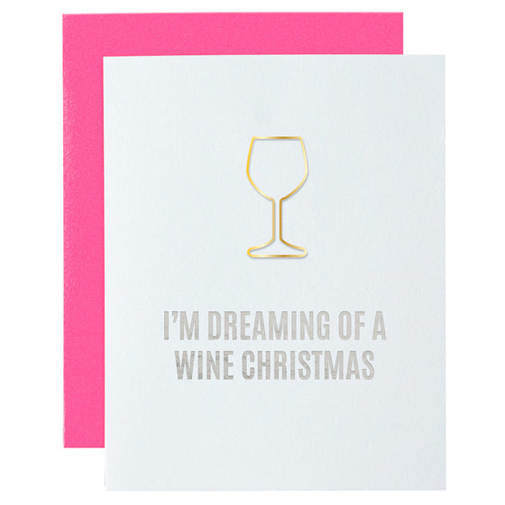 I'm Dreaming of a Wine Christmas Paper Clip Letterpress Card