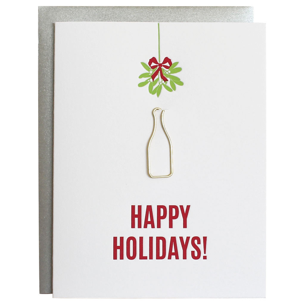 Happy Holidays Booze Mistletoe Paper Clip Card
