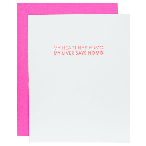 Heart Has FOMO Letterpress Card