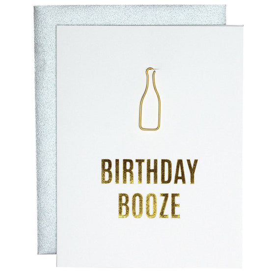 Birthday Booze Paper Clip Letterpress Card