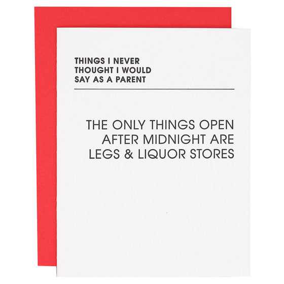 Only Things Open After Midnight Letterpress Card