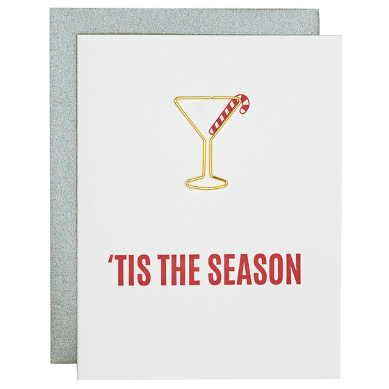 Tis the Season Paper Clip Letterpress Card