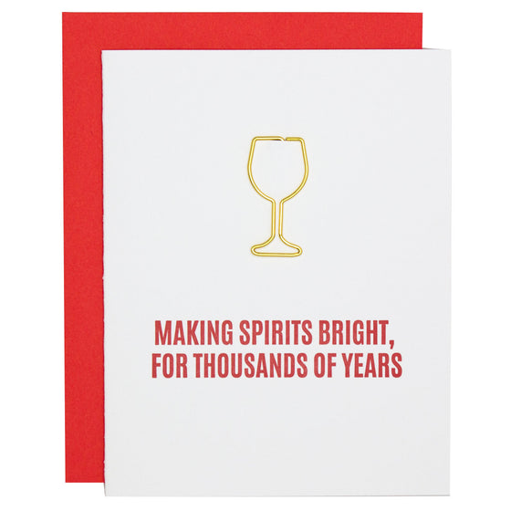 Making Spirits Bright Paper Clip Letterpress Card