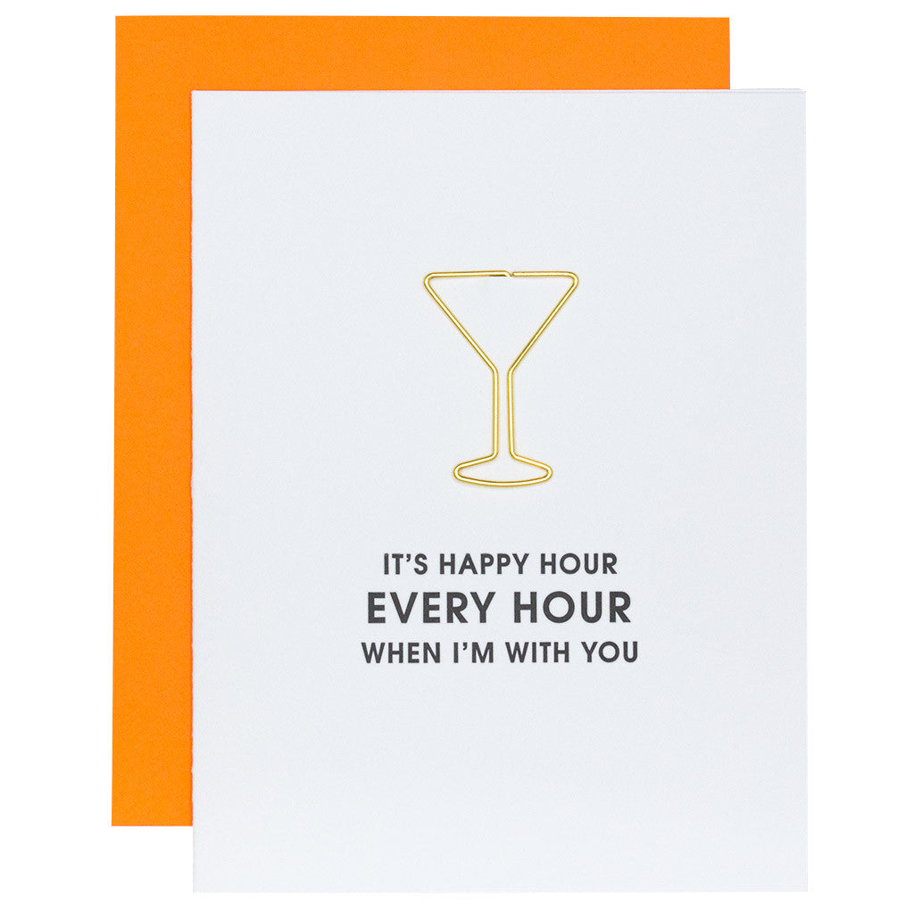 Happy Hour Every Hour Letterpress Card