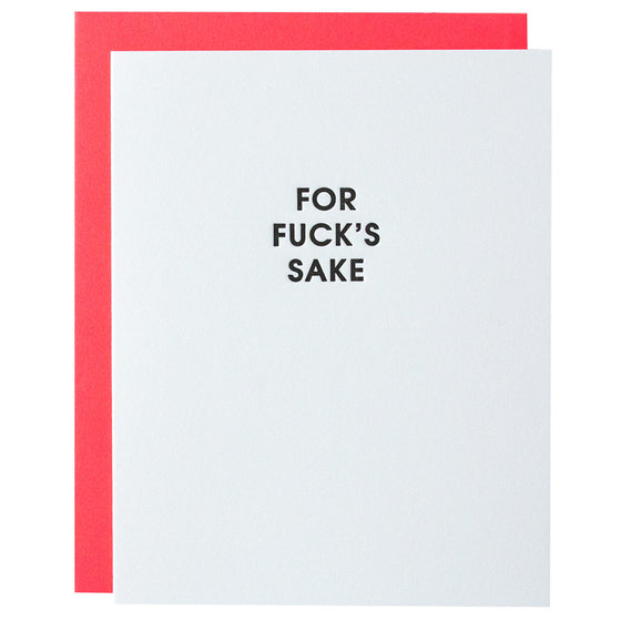 For Fuck's Sake Letterpress Card