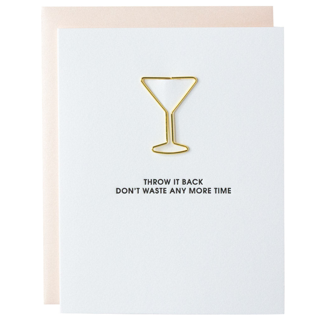 Throw It Back Paper Clip Letterpress Card