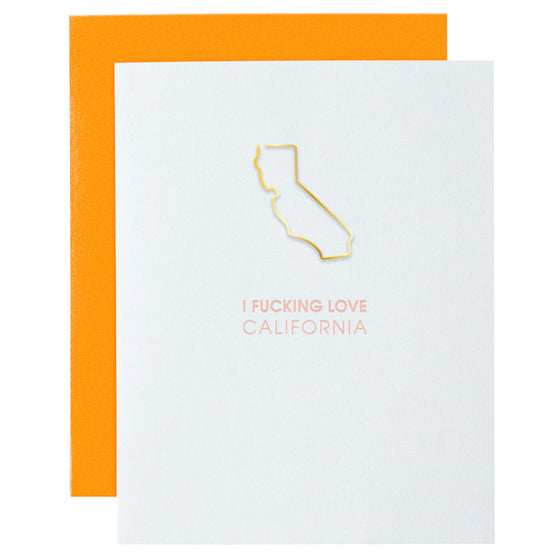 I Fucking Love California Paper Clip Letterpress Card