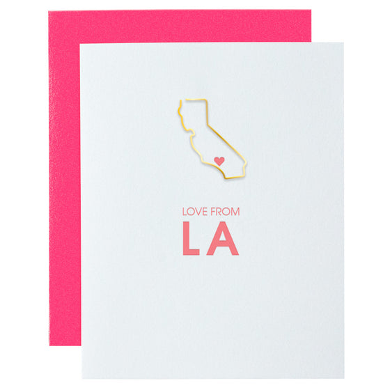 Love From LA California Paper Clip Letterpress Card