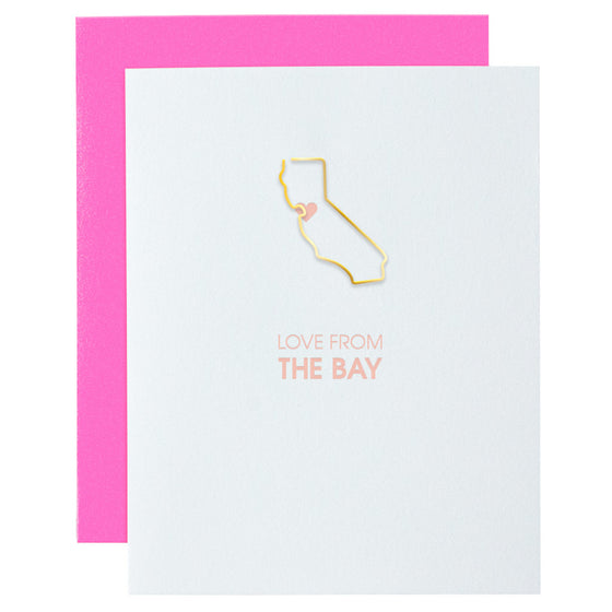 Love From the Bay California Paper Clip Letterpress Card