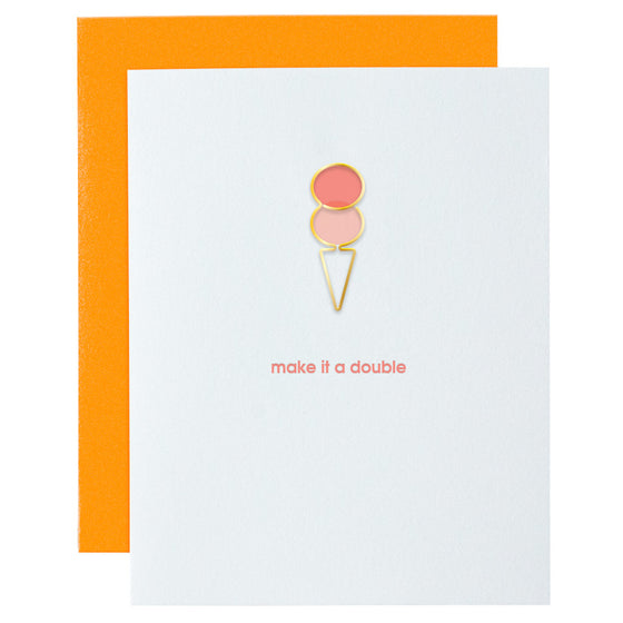 Make It a Double Ice Cream Cone Paper Clip Letterpress Card