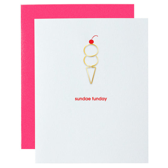 Sundae Funday Ice Cream Cone Paper Clip Letterpress Card