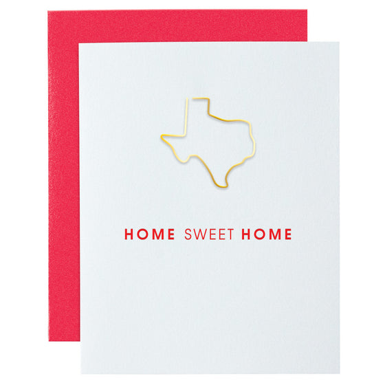 Home Sweet Home TX Paper Clip Letterpress Card
