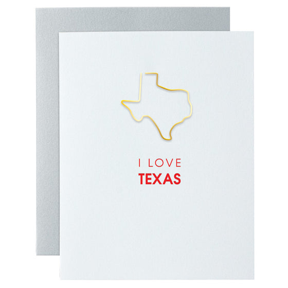 I Love Texas Paper Clip Letterpress Card