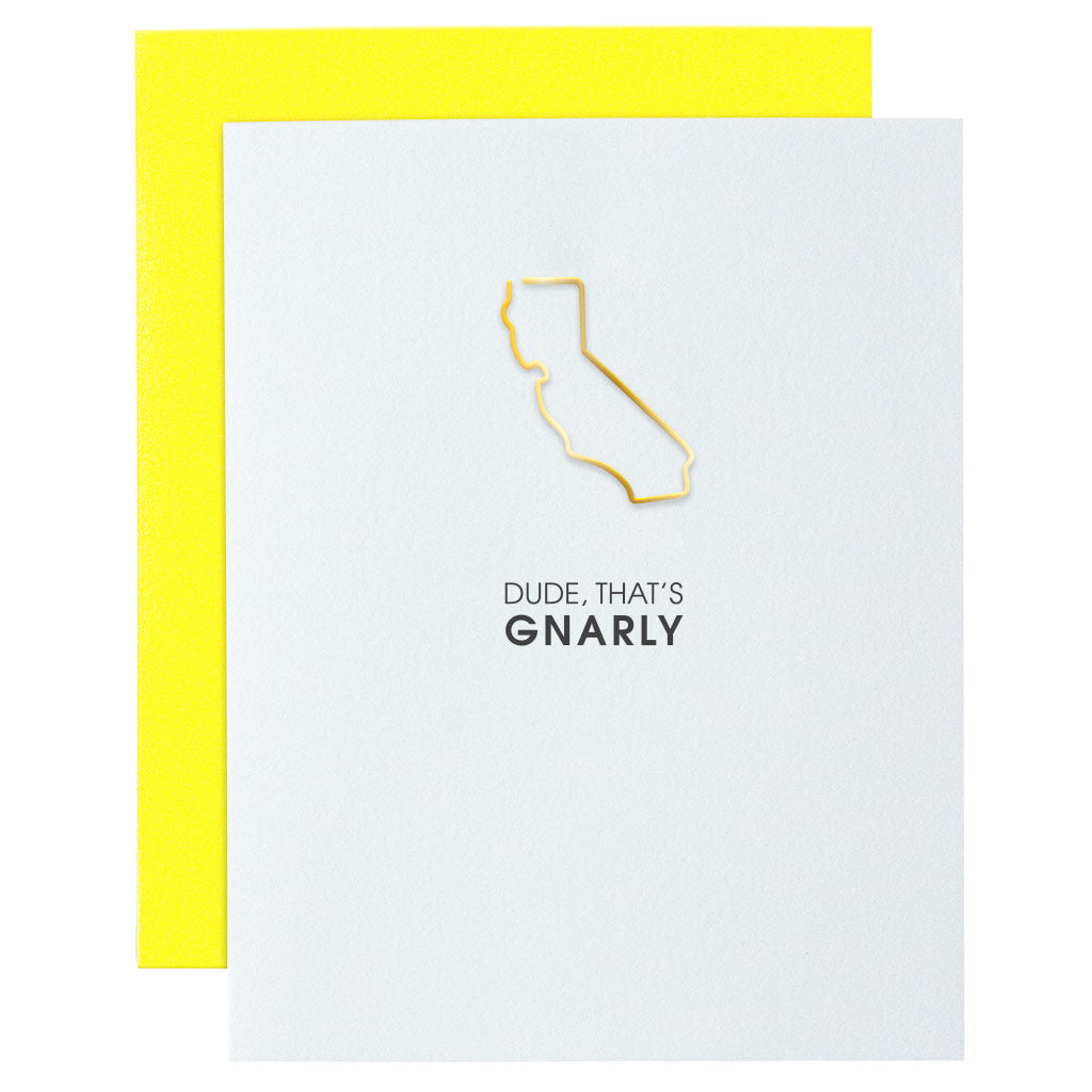 Dude That's Gnarly California Paper Clip Letterpress Card