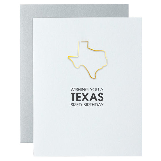 Wishing You a Texas Sized Birthday Paper Clip Letterpress Card