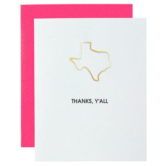 Thanks, Y'all TX Paper Clip Letterpress Card
