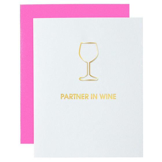 Partner in Wine Paper Clip Letterpress Card