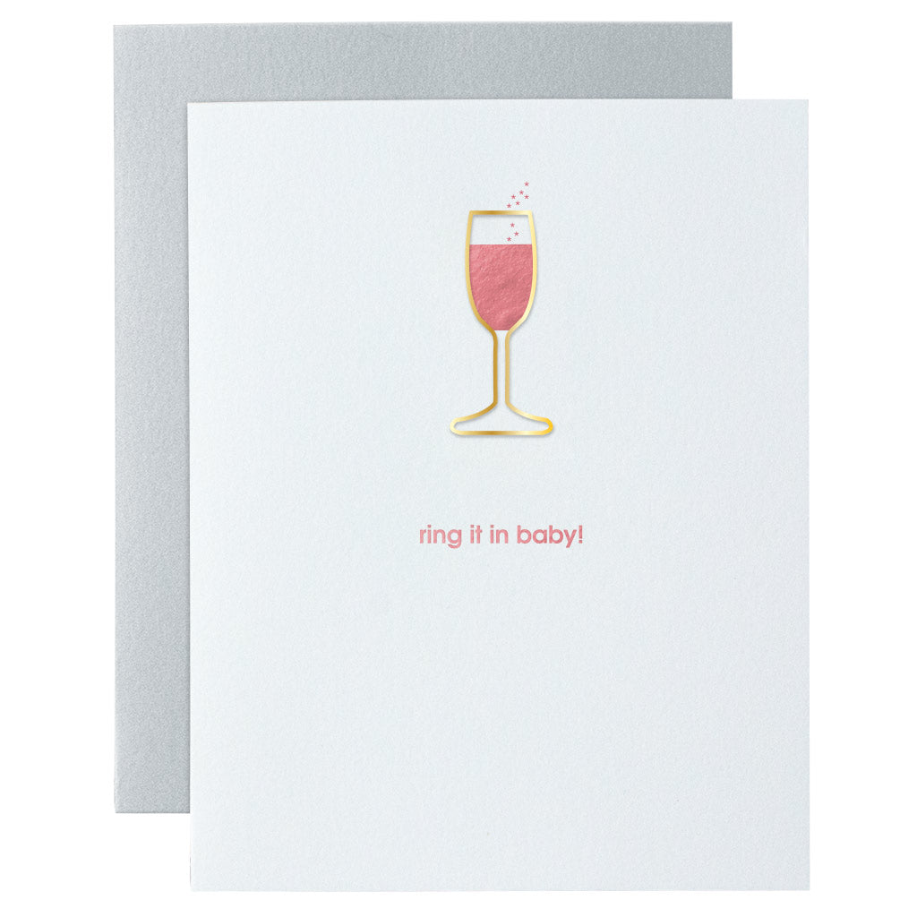 Ring It In Baby Paper Clip Letterpress Card