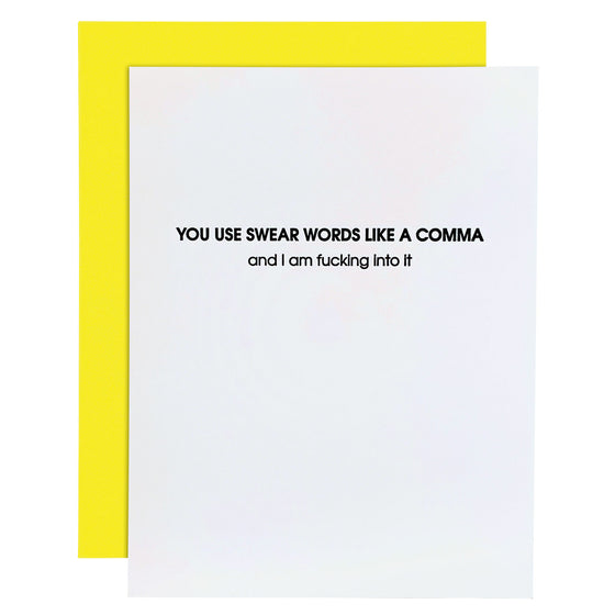 Swear Words Like a Comma Letterpress Card