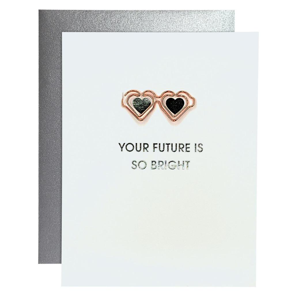 Future Is Bright Paper Clip Foil Letterpress Card
