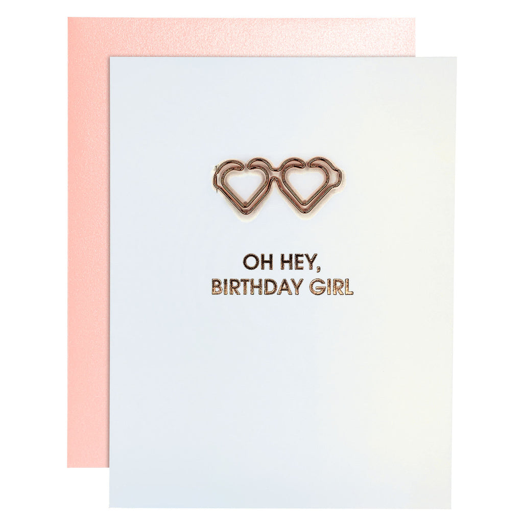 Hey Birthday Girl Paper Clip Rose Gold Letterpress Card