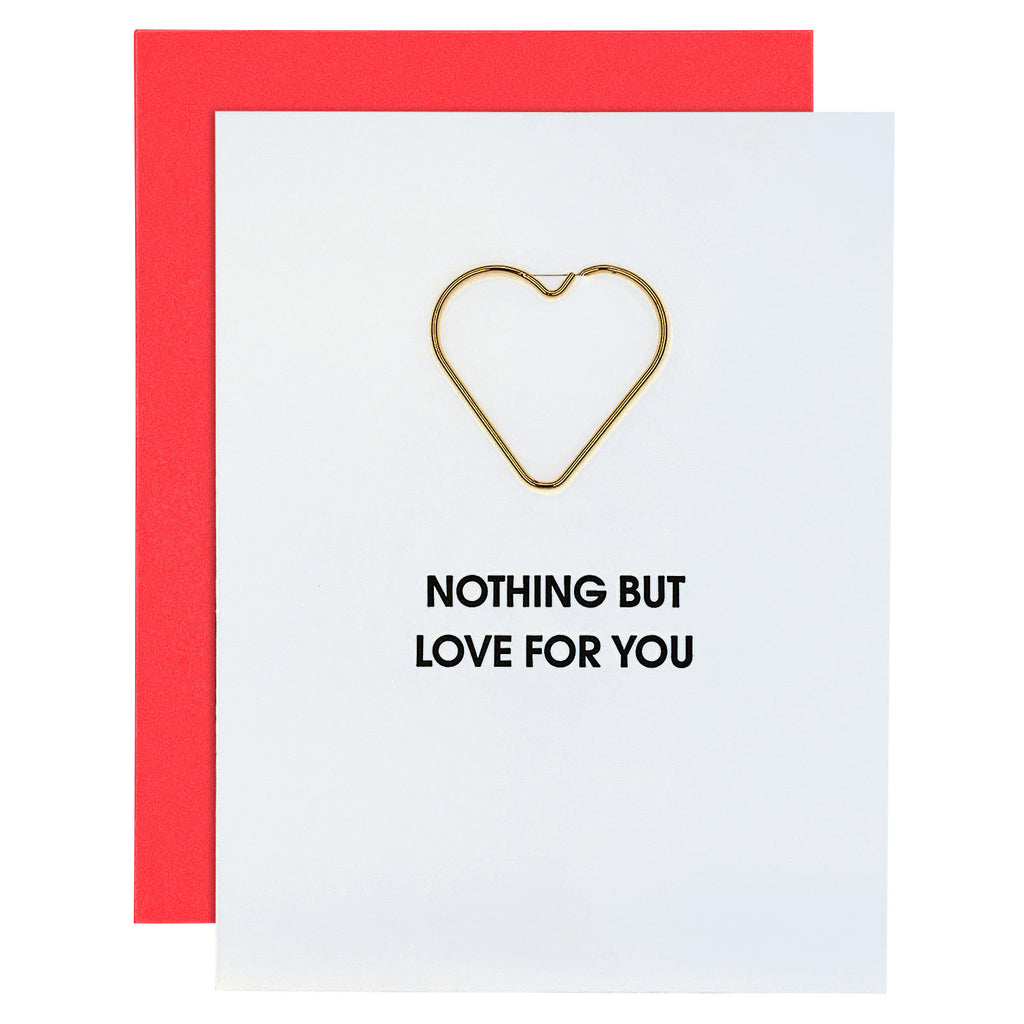 Nothing But Love Paper Clip Letterpress Card