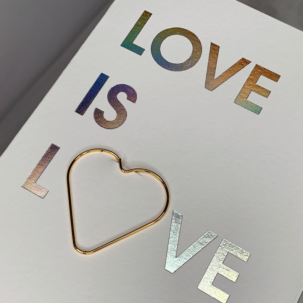 Love Is Love Paper Clip Holographic Letterpress Card
