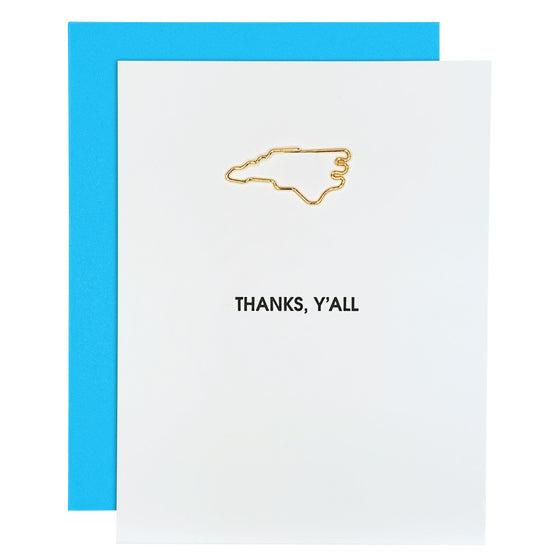Thanks Y'all North Carolina Paper Clip Letterpress Card