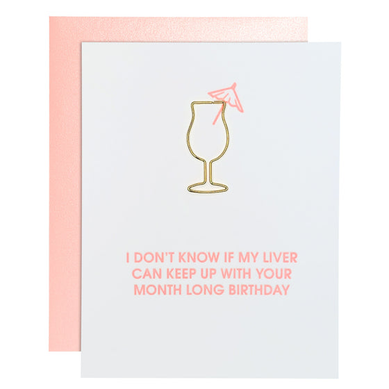 Month Long Birthday Liver Joke Daiquiri Paper Clip Letterpress Card