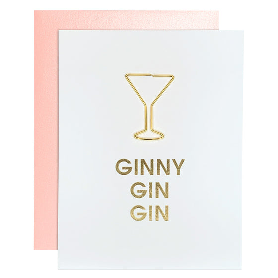 Ginny Gin Gin Friendship Martini Glass Paper Clip Letterpress Card