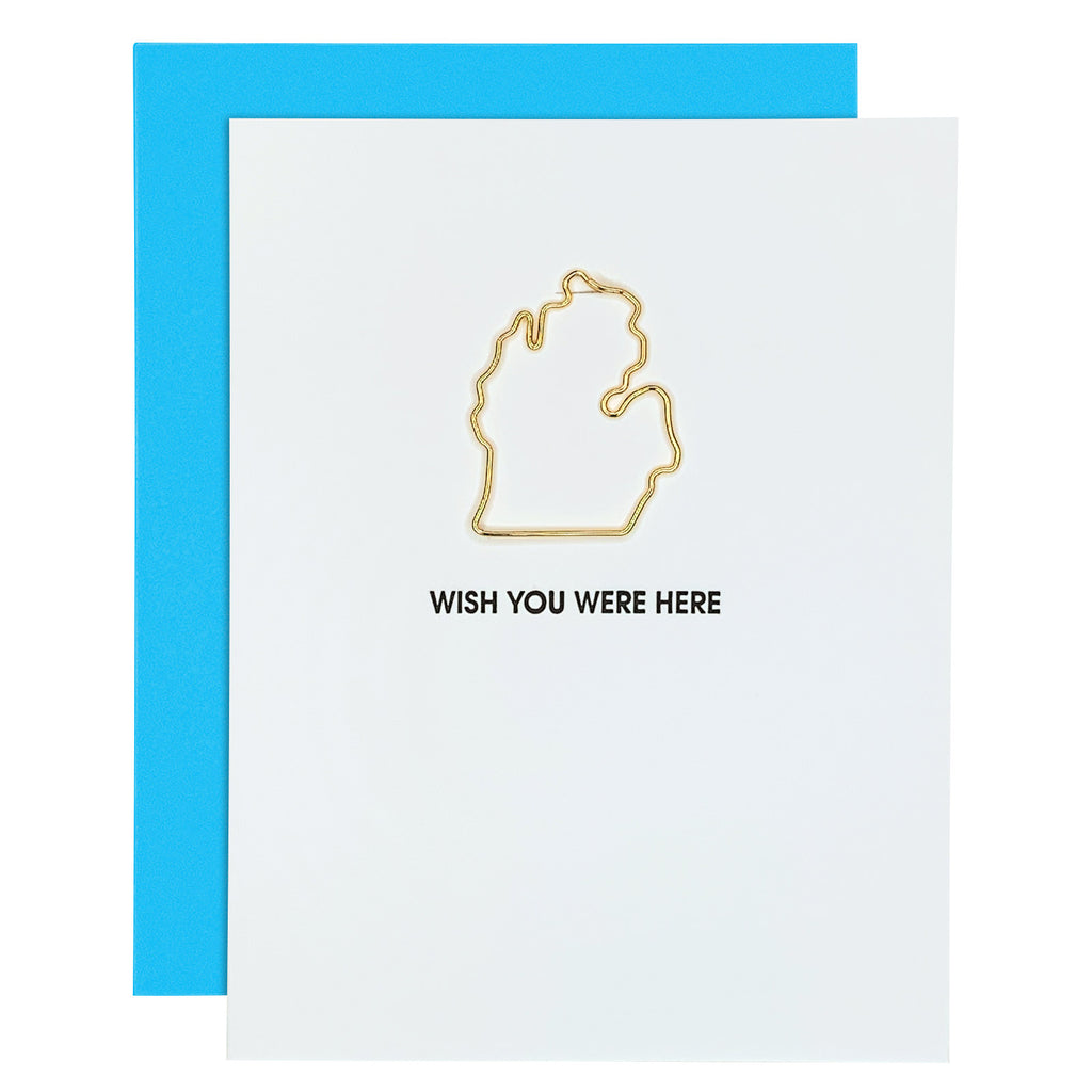 Wish You Were Here Michigan Paper Clip Letterpress Card