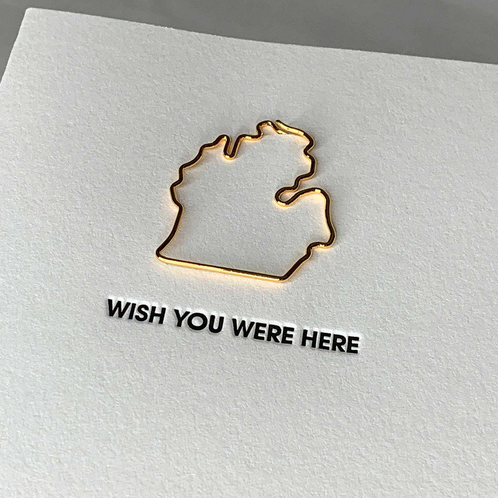 Wish You Were Here Michigan Paper Clip Letterpress Card Close Up