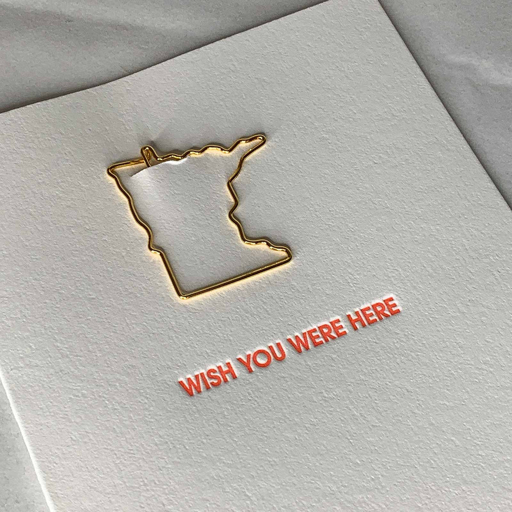 Wish You Were Here Minnesota Paper Clip Letterpress Card Close Up