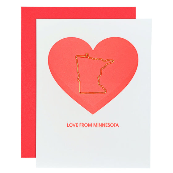 Love From Minnesota Paper Clip Letterpress Card