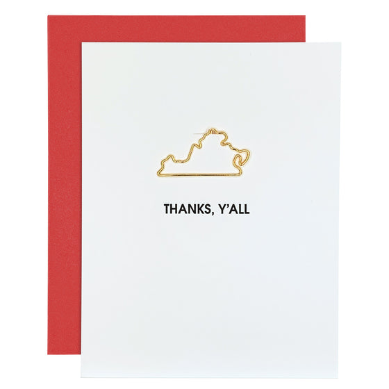 Thanks Y'all Virginia Paper Clip Letterpress Card