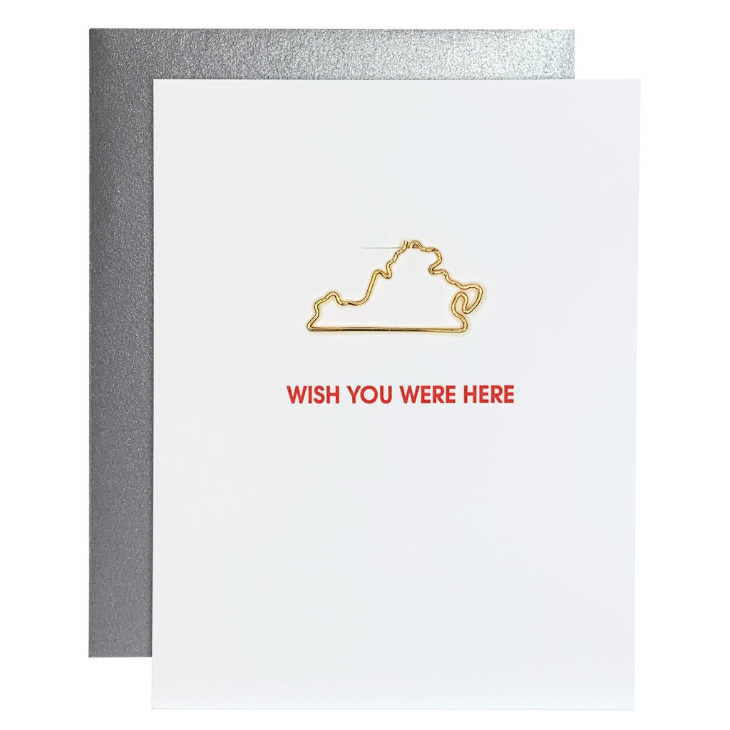 Wish You Were Here Virginia Paper Clip Letterpress Card