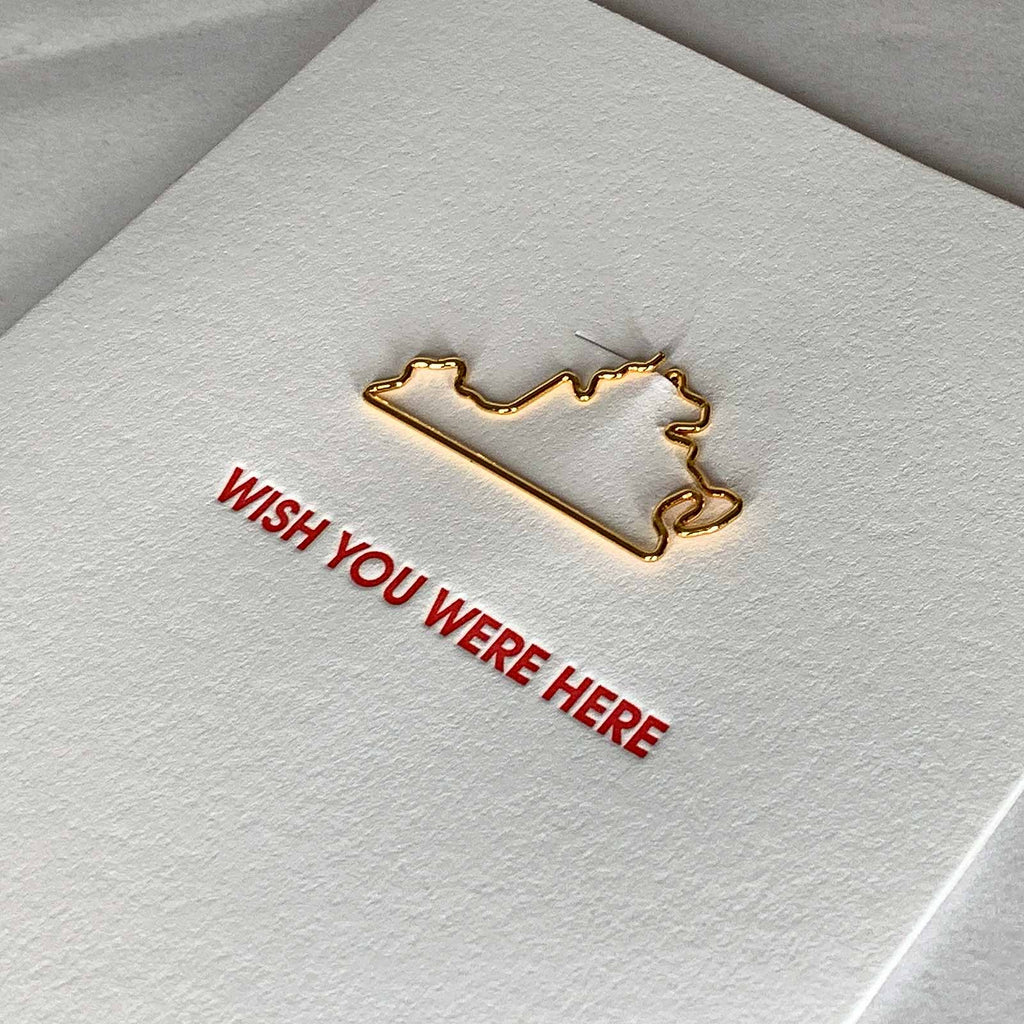 Wish You Were Here Virginia Paper Clip Letterpress Card Close Up