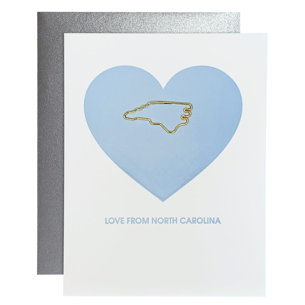 Love From North Carolina Paper Clip Letterpress card