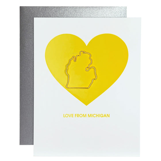 Love From Michigan Paper Clip Letterpress Card