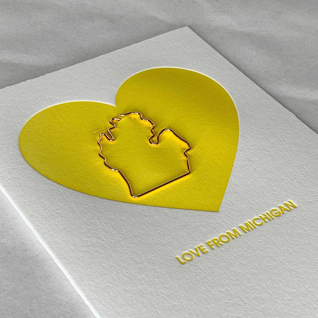 Love From Michigan Paper Clip Letterpress Card Close Up