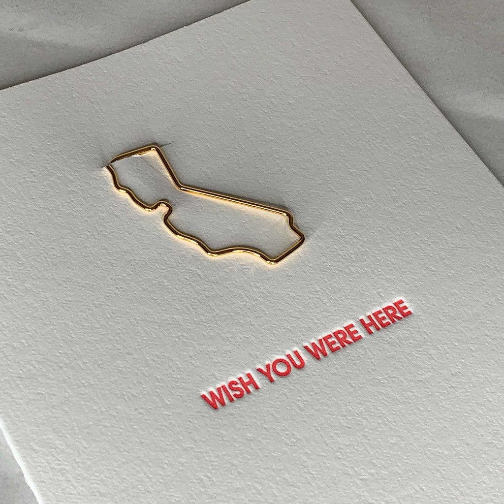 Wish You Were Here California Paper Clip Letterpress Card Close Up